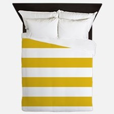 Mustard Yellow Horizontal Stripes Queen Duvet