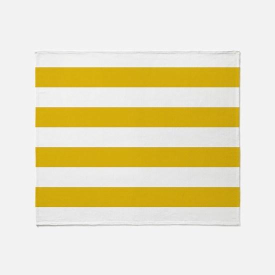 Mustard Yellow Horizontal Stripes Throw Blanket