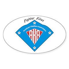 AKA Fighter Kite Classic II Oval Sticker (10 pk)