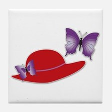 Red Hat Butterfly Tile Coaster