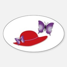 Red Hat Butterfly Oval Decal