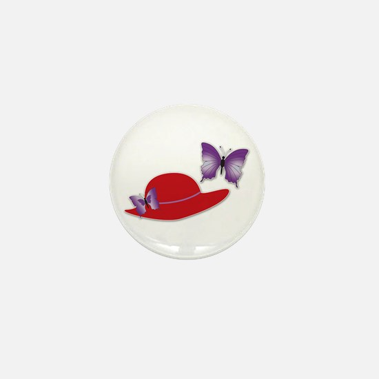 Red Hat Butterfly Mini Button