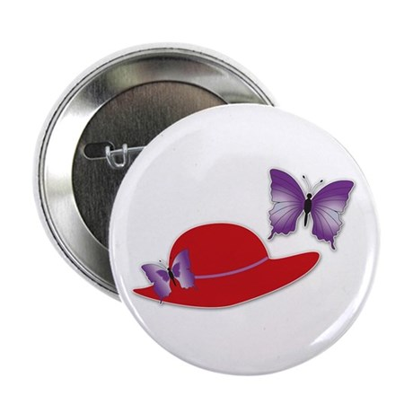 Red Hat Butterfly Button / Pin / Brooch