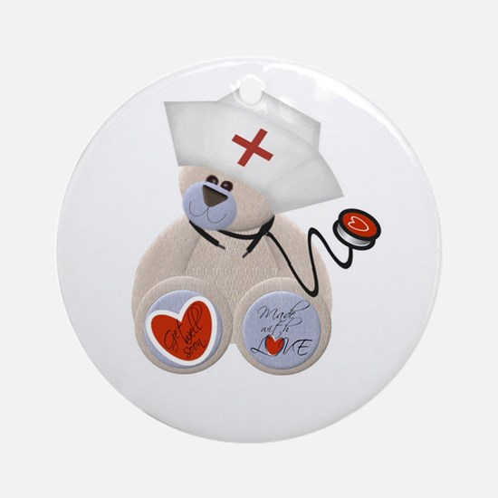 Nurse Bear Ornament (Round)