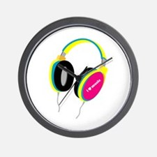 House Music Headphones Wall Clock