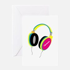 House Music Headphones Greeting Card