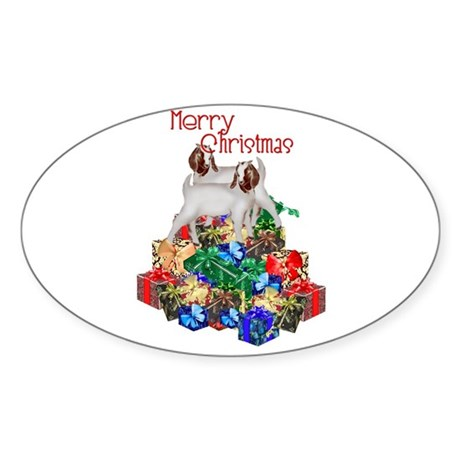 Boer Goat Christmas Sticker (Oval)
