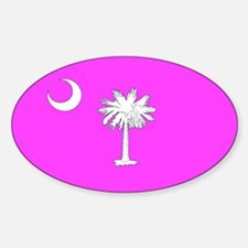Pink South Carolina Flag Oval Decal
