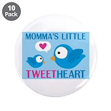 "MOMMA'S LITTLE tweet HEART 3.5"" Button (10 pack)"