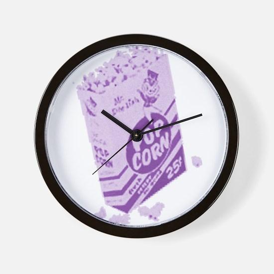 Purple Retro Drive-in Popcorn Wall Clock