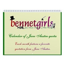 Bennetgirls Jane Austen quotes Wall Calendar
