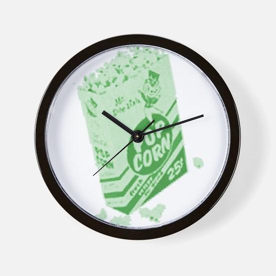 Green Retro Drive-in Popcorn Wall Clock