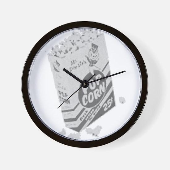 B&W Retro Drive-in Popcorn Wall Clock