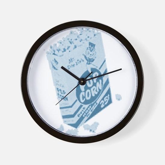 Blue Retro Drive-in Popcorn Wall Clock