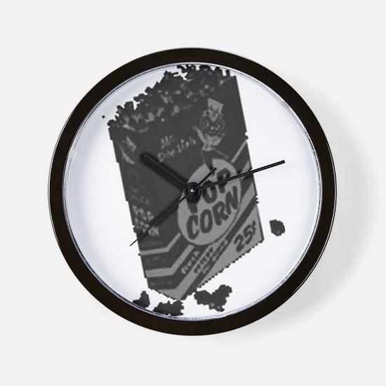 Black Retro Drive-in Popcorn Wall Clock