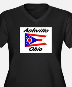 Ashville Ohio Women's Plus Size V-Neck Dark T-Shir