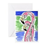 Two Flamingos Note Cards