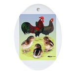 Danish Leghorn Rooster, Hen & Oval Ornament