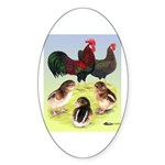 Danish Leghorn Rooster, Hen & Oval Sticker