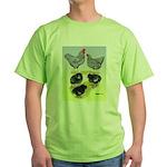 Plymouth Rock Rooster, Hen & Green T-Shirt