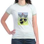 Plymouth Rock Rooster, Hen & Jr. Ringer T-Shir