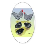 Plymouth Rock Rooster, Hen & Oval Sticker