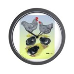 Plymouth Rock Rooster, Hen & Wall Clock