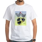 Plymouth Rock Rooster, Hen & White T-Shirt