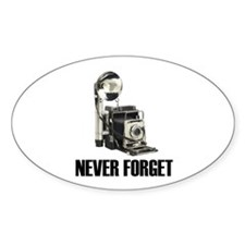 Never Forget Antique Cameras Oval Decal