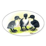 Swedish Duck Ducklings Oval Sticker