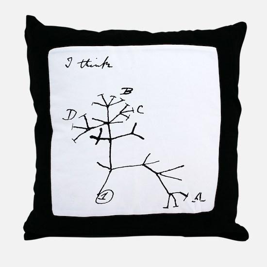 "Darwin Notebook - ""I think"" Throw Pillow"