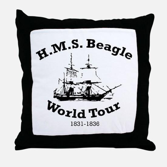 HMS Beagle world tour Throw Pillow