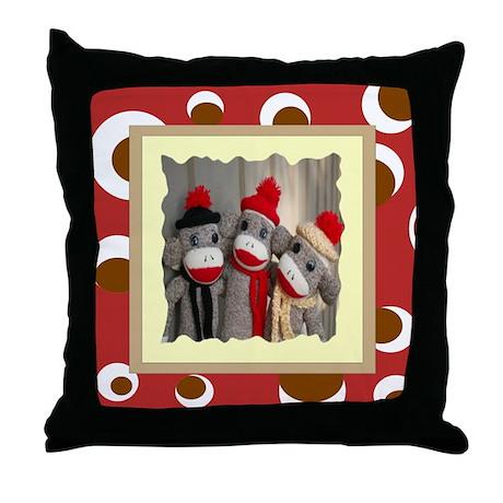 Sock Monkeys Throw Pillow