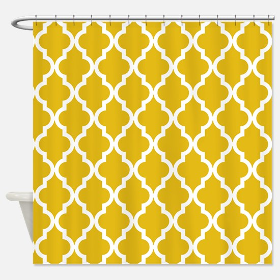 Mustard Yellow Moroccan Pattern Shower Curtain