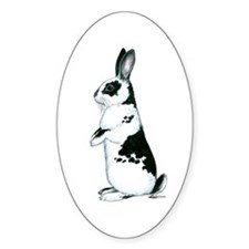Black and White Rabbit Oval Decal