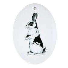 Black and White Rabbit Oval Ornament