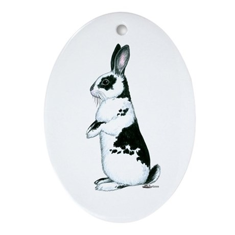Black and White Rabbit Oval Ornament