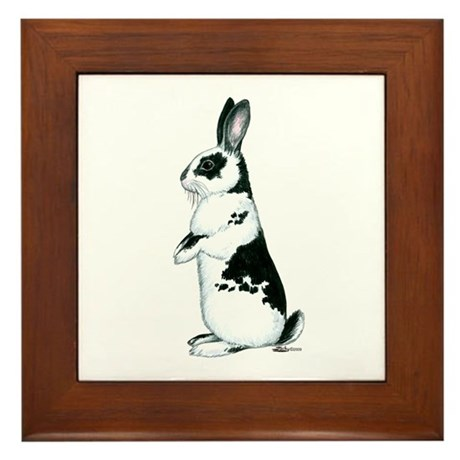 Black and White Rabbit Framed Tile