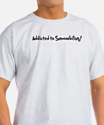 Addicted to Snowmobiling Ash Grey T-Shirt