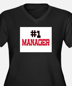 Number 1 MANAGER Women's Plus Size V-Neck Dark T-S