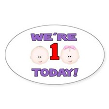 We're 1 Today! Oval Decal