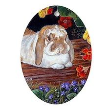 Mini Lop Rabbit Art Oval Ornament