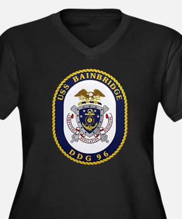 USS Bainbridge DDG 96 Navy Women's Plus Size V-Nec
