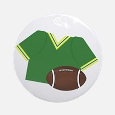 Green Jersey and Football Ornament (Round)