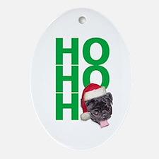 AllThingsPug.com Black Pug Santa Oval Ornament
