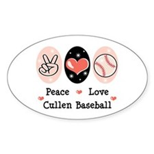 Peace Love Cullen Baseball Oval Decal