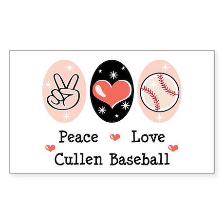 Peace Love Cullen Baseball Rectangle Sticker 10 p