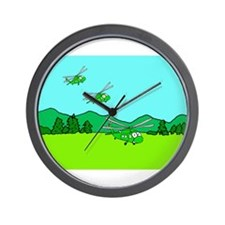 3 UH-60s Landing Wall Clock
