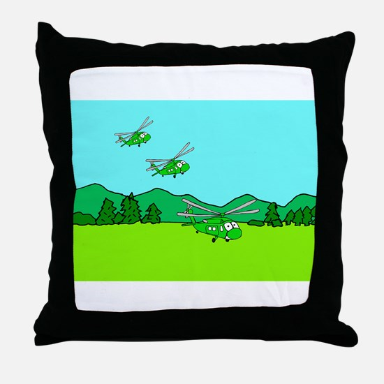 3 UH-60s Landing Throw Pillow