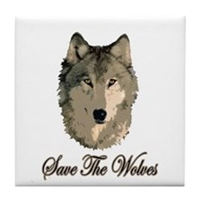 Save The Wolves Tile Coaster